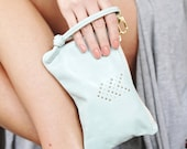 Mint Small Leather Wristlet Handbag Chevron Micro Rivet Detail Brass Zipper Closure Available in 40 Colors