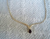 Vintage Jewelry Gold Tone Pendant Necklace Ruby Red Teardrop Stone