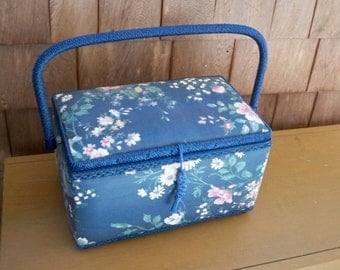 Vintage Housewares Sewing Blue Floral Print Box Sewing Box Basket Storage