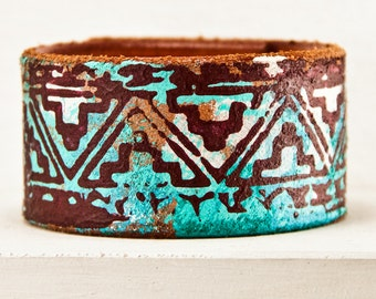 Cuff Bracelet Leather Turquoise Jewelry Bohemian Teal Wristbands