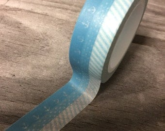 Washi Tape - 15mm - Light Blue Anchor, Dots, & Diagonal Stripes - Deco Paper Tape No. 706