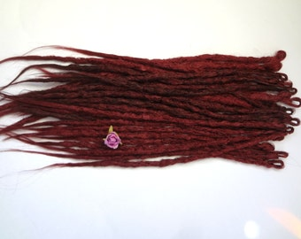 27 Red wine synthetic dreads. Synthetic dreads, dreadlocks, dreads, synthetic dreadlocks, dreadlock extensions, long thin single ended