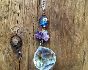 Raw gem mobile amethyst suncatcher wire wrapped crystal prism hanging rainbow maker
