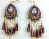 Handcrafted Art Deco Vintage Purple with Gold Floral Crystal Chandelier Earrings OOAK Free Ship