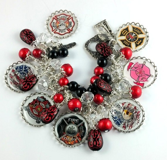 Altered Art Dedicated to Firefighters and First Responders Silver Charm Bracelet OOAK