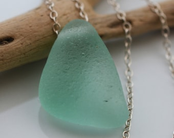 Mermaids Tear Seafoam Seaglass Necklace, Sterling Silver Chain, Frosted Beach Glass, Beachy, Upcycled, Chunky, Eco Friendly