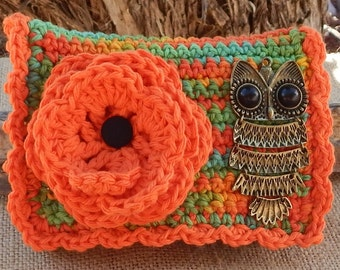 Crocheted Purse  ~  Orange and Boho with Owl  Crocheted Cotton Little Bit Purse