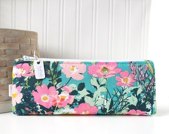 Teal Floral Pencil Case Floral Pencil Pouch Floral Purse Organizer