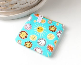 Bright Blue and Yellow Suns Coin Purse Turquoise Change Purse Sunny Gift Card Holder