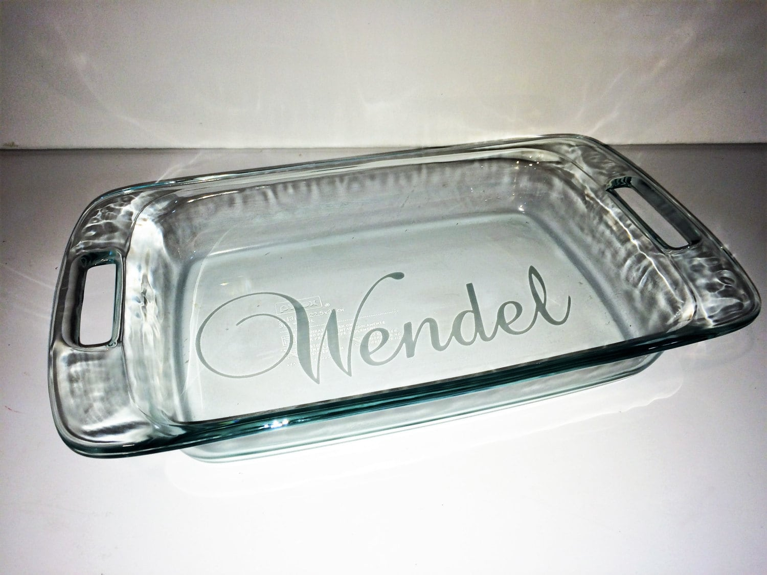 personalized etched glass casserole or pie dish - your choice of pyrex dishes