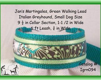 "Jansmartingales, Green Dog Collar Leash Combination Walking Lead,  Italian Greyhound, Small Dog Size,  9-1/2 "" Collar Section, Igrn094"