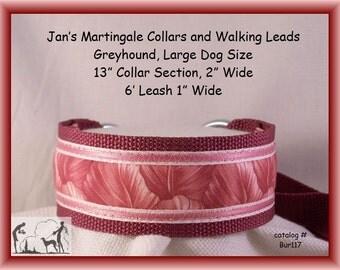 Large Dog Size Martingale Collar and Leash Combination Walking Lead, Burgundy, Greyhound, Bur117