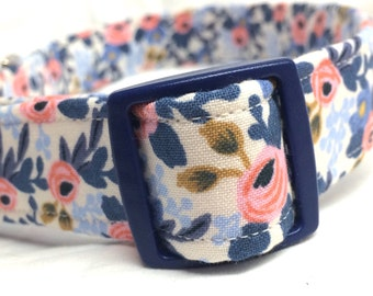 Rifle Paper Co. Dog Collar Les Fleurs Fabric Wedding Blue Flowers