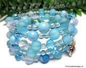Aqua Blue Bracelet,Wrap Bracelet,Beaded Bracelet,Stack Bracelet,Memory Wire Bracelet,5 Strand Bracelet,Charm Bracelet,Bracelet Jewelry