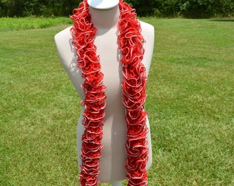Red with Silver Lining Ruffle Scarf, Long Scarf, Crochet Ruffle Scarf, Ruffle Scarf