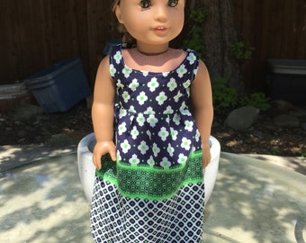 18 Inch Doll Clothes Navy and Green Print Maxi Dress Ready to Ship