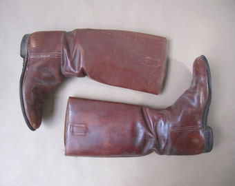 1920s vintage brown leather riding boots