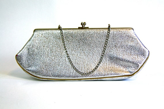 Vintage 60s Shiny Metallic Silver Handbag Metal Frame Kelly Bag Jackie-O Pocketbook Boxy Baguette Bag Top Handle Purse 1960s MAD MEN Handbag