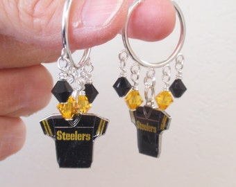 Pittsburgh Steelers Earrings, Steelers Bling, Black and Gold Jersey Charm Hoops, Pro Football Steelers Jewelry Accessory Fanwear