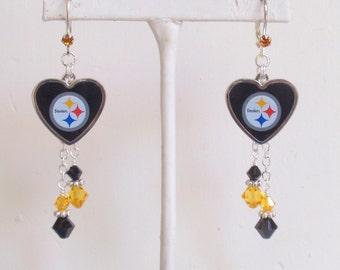 Pittsburgh Steelers Earrings, Steelers Bling, Black and Gold Crystal Pro Football Earrings, Football Steelers Jewelry Accessory Fanwear