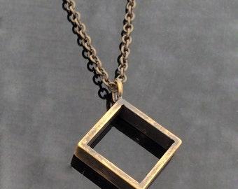 Quadro-Basic chain for man-Rugged chain-Grange Jewelry-Grange Necklace-Grange Pendant-Basic necklace for man-Mens geometric pendant-MJ