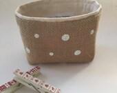 mini storage bin // burlap with white polka dots