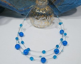 Necklace Murano glass, Acquamarine color