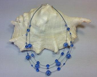 Necklace Murano glass, Blue color