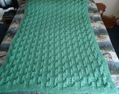 Soft Sage Hand Knitted Geometric Afghan, Blanket, Throw - Home Decor - Free Shipping