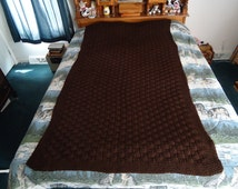 Hand Knitted Espresso Basketweave Afghan, Blanket, Throw - Home Decor -  Shipping is Included