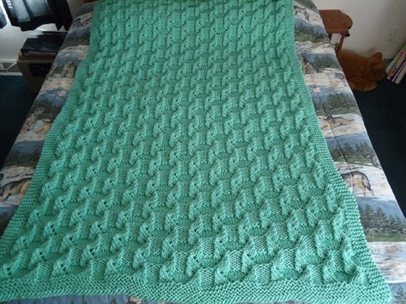 Soft Sage Hand Knitted Geometric Afghan, Blanket, Throw - Home Decor