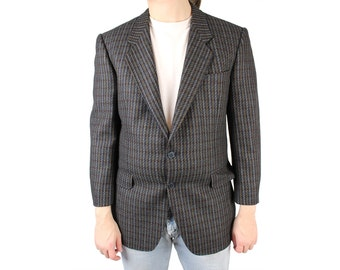 Vintage Mens Blazer 40S 100% Wool Gray Brown Striped Sports Coat Jacket Jaeger M Free US Shipping