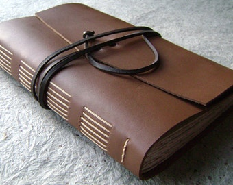"Large Leather Journal/travel journal, 6""x 9"", brown, by Dancing Grey Studio(1700)"