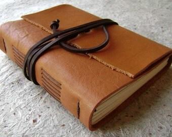 "Leather journal, rustic tan, 4"" x 6"", handmade journal by Dancing Grey Studio (1144)"
