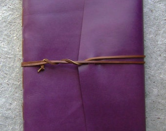 "8.5""x 11"" leather journal, 312 pages, purple journal, handmade leather journal by Dancing Grey Studio (2104)"