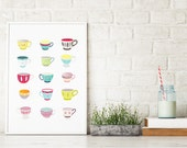 Teacups Art Print, Kitchen Art Decoration, Illustration, Office Decor for Canteen Teacup, Art Home, Children, Nursery, Gift for Mother Wife