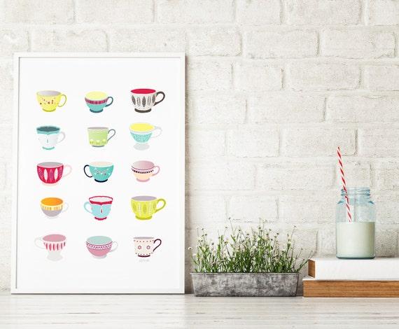 Teacups Art Print, Kitchen Art Decoration, Illustration, Office Decor for Canteen Teacup, Art Home, Children, Nursery, Gift for Mother Wife