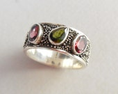 Unique silver sterling three Tourmaline gems ring band / silver granulation technique  / Bali handmade jewelry / silver 925