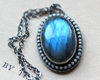 Sterling Silver Labradorite Necklace Blue Gemstone Necklace Seahorse Statement Necklace Large Gemstone - Porthole