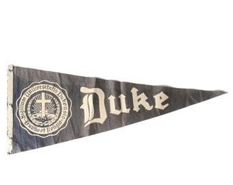 1950s-60s Rare Duke University Pennant, Blue Devils