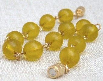 SALE 30% Bracelet, Yellow Frosted Glass B264