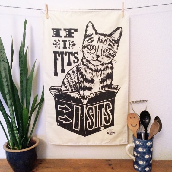 If I fits Cat Tea Towel - From Linocut, 100% Cotton Kitchen Towel, Cat Lover Gift, Tea Towel, Funny Dish Towel, Mum Gift