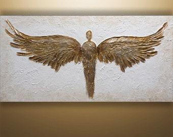 Abstract Painting, 3d, Abstract Wall Art, Wall Decor, Wall Art, Figures, Canvas Art, Heavy Texture, Home Decor, Gabriela Art, Painting Angel