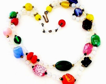 Double Strand Molded and Pressed Murano Glass Bead Necklace