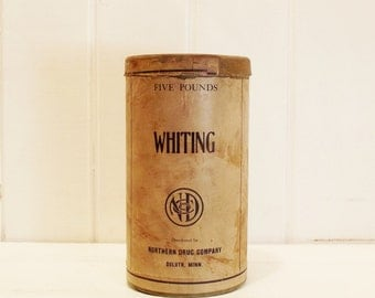 Vintage Apothecary Container and Original Metal Scoop, Whiting Powder, Storage Container, Vintage Metal Scoop, Minnesota, Advertising Can