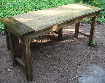 "Farmhouse Table or Desk 30"" Deep Hardwood In Variable Widths and Optional Drawer"