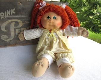 1982 Cabbage Patch Doll Girl Green Eye Orange Hair