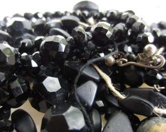 Vintage Black Bead Faceted beads Glossy and Matte Supply