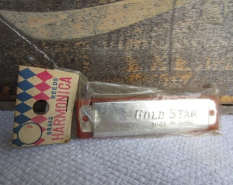 Vintage Toy Harmonica Gold Star Made in Japan Brass Reeds