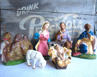 Vintage Nativity Creche Figures Made in Italy set of 6